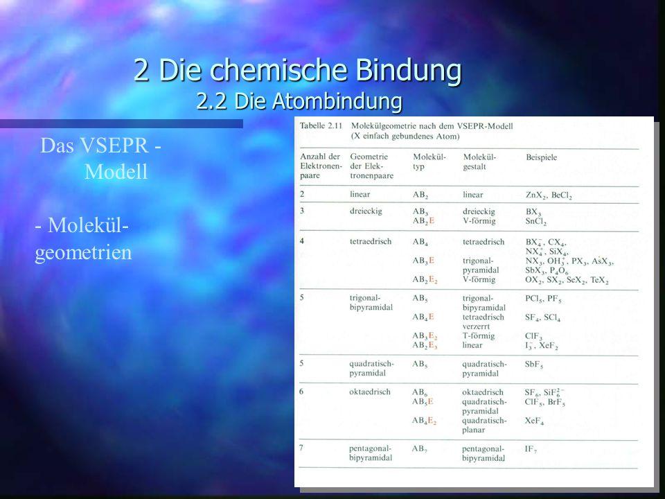 2 Die chemische Bindung 2.2 Die Atombindung Das VSEPR - Modell - Molekül- geometrien
