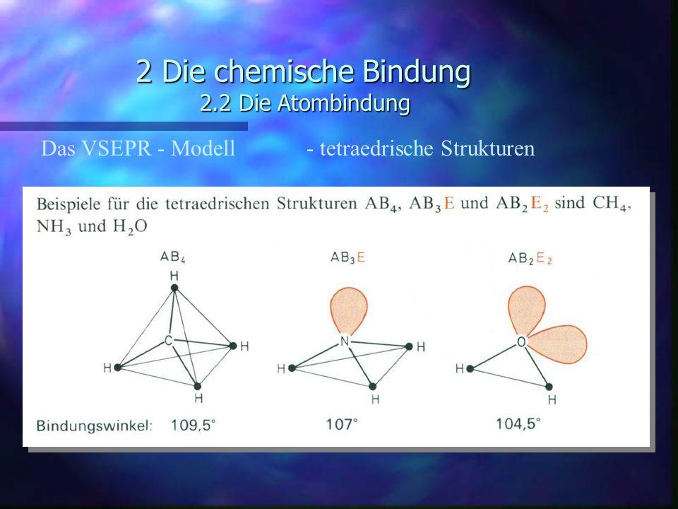 2 Die chemische Bindung 2.2 Die Atombindung Das VSEPR - Modell - tetraedrische Strukturen