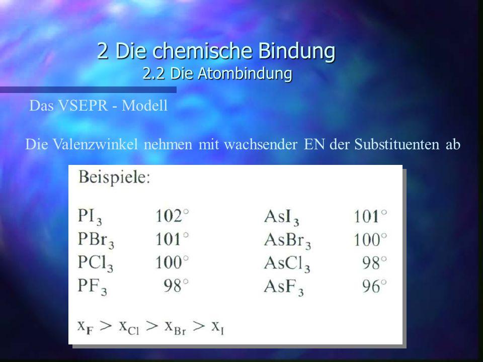 2 Die chemische Bindung 2.2 Die Atombindung Das VSEPR - Modell Die Valenzwinkel nehmen mit wachsender EN der Substituenten ab