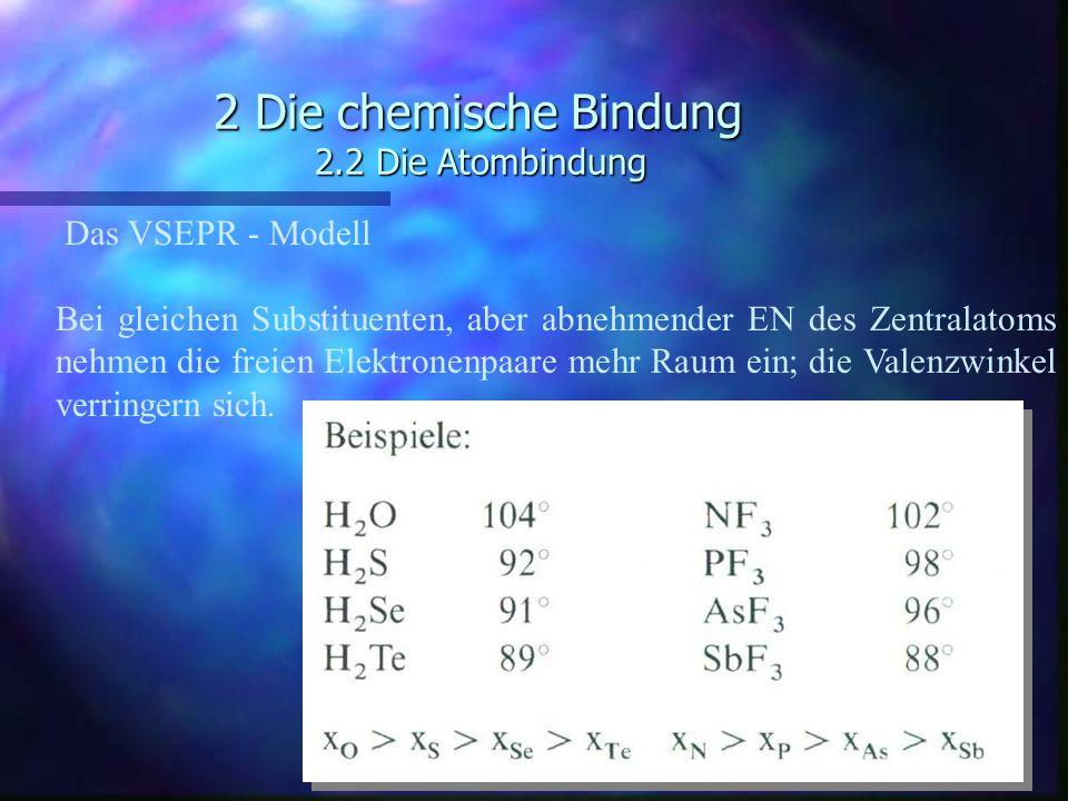 2 Die chemische Bindung 2.2 Die Atombindung Das VSEPR - Modell Bei gleichen Substituenten, aber abnehmender EN des Zentralatoms nehmen die freien Elek