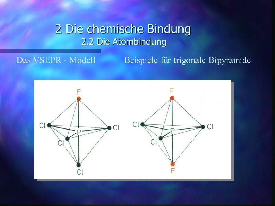 2 Die chemische Bindung 2.2 Die Atombindung Das VSEPR - ModellBeispiele für trigonale Bipyramide