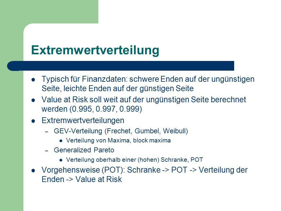 Extremwertverteilung Typisch für Finanzdaten: schwere Enden auf der ungünstigen Seite, leichte Enden auf der günstigen Seite Value at Risk soll weit auf der ungünstigen Seite berechnet werden (0.995, 0.997, 0.999) Extremwertverteilungen – GEV-Verteilung (Frechet, Gumbel, Weibull) Verteilung von Maxima, block maxima – Generalized Pareto Verteilung oberhalb einer (hohen) Schranke, POT Vorgehensweise (POT): Schranke -> POT -> Verteilung der Enden -> Value at Risk