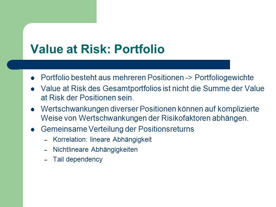 Value at Risk: Portfolio Portfolio besteht aus mehreren Positionen -> Portfoliogewichte Value at Risk des Gesamtportfolios ist nicht die Summe der Value at Risk der Positionen sein.