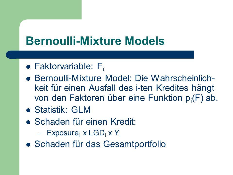 Bernoulli-Mixture Models Faktorvariable: F i Bernoulli-Mixture Model: Die Wahrscheinlich- keit für einen Ausfall des i-ten Kredites hängt von den Faktoren über eine Funktion p i (F) ab.