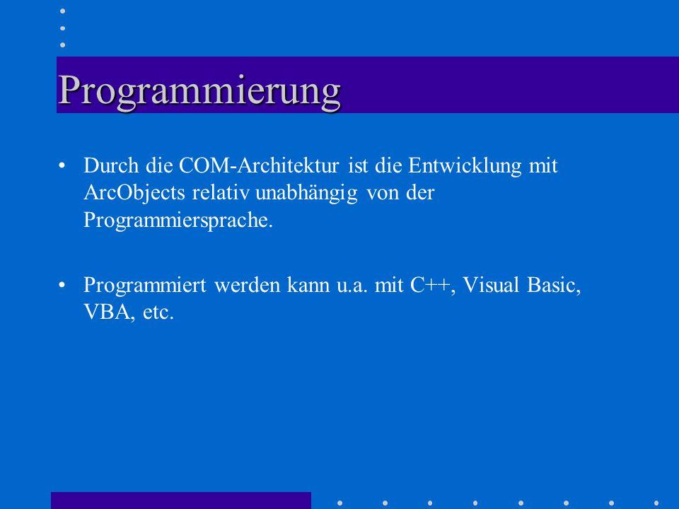 Programmierung Durch die COM-Architektur ist die Entwicklung mit ArcObjects relativ unabhängig von der Programmiersprache.