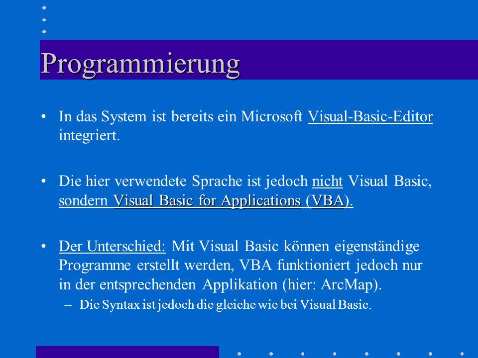 Programmierung In das System ist bereits ein Microsoft Visual-Basic-Editor integriert.