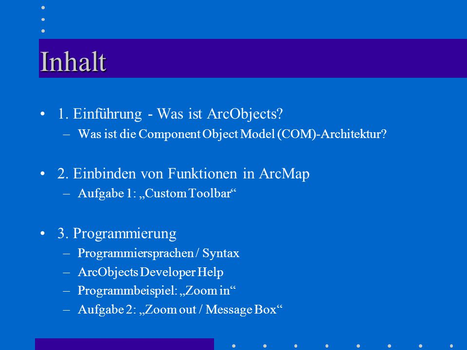 Inhalt 1. Einführung - Was ist ArcObjects. –Was ist die Component Object Model (COM)-Architektur.