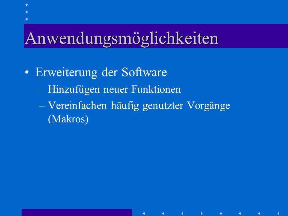 Anwendungsmöglichkeiten Erweiterung der Software –Hinzufügen neuer Funktionen –Vereinfachen häufig genutzter Vorgänge (Makros)