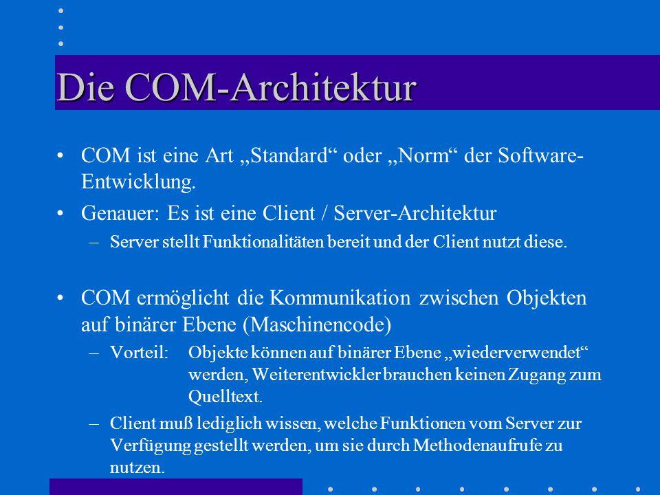 """Die COM-Architektur COM ist eine Art """"Standard oder """"Norm der Software- Entwicklung."""
