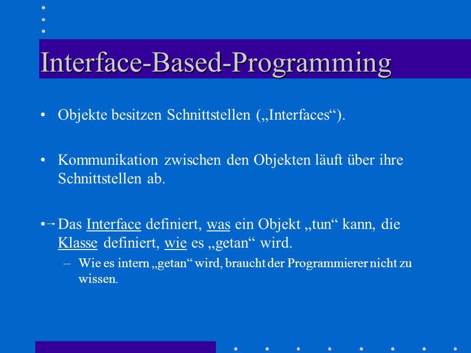 "Interface-Based-Programming Objekte besitzen Schnittstellen (""Interfaces )."