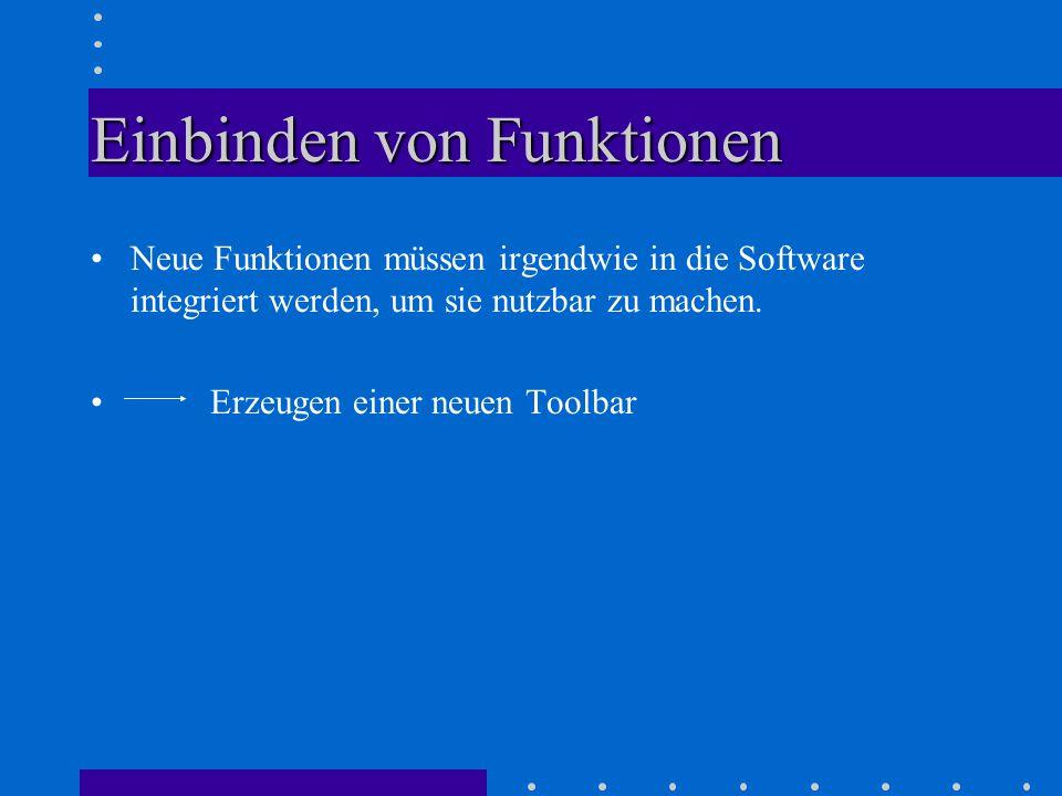 Einbinden von Funktionen Neue Funktionen müssen irgendwie in die Software integriert werden, um sie nutzbar zu machen.