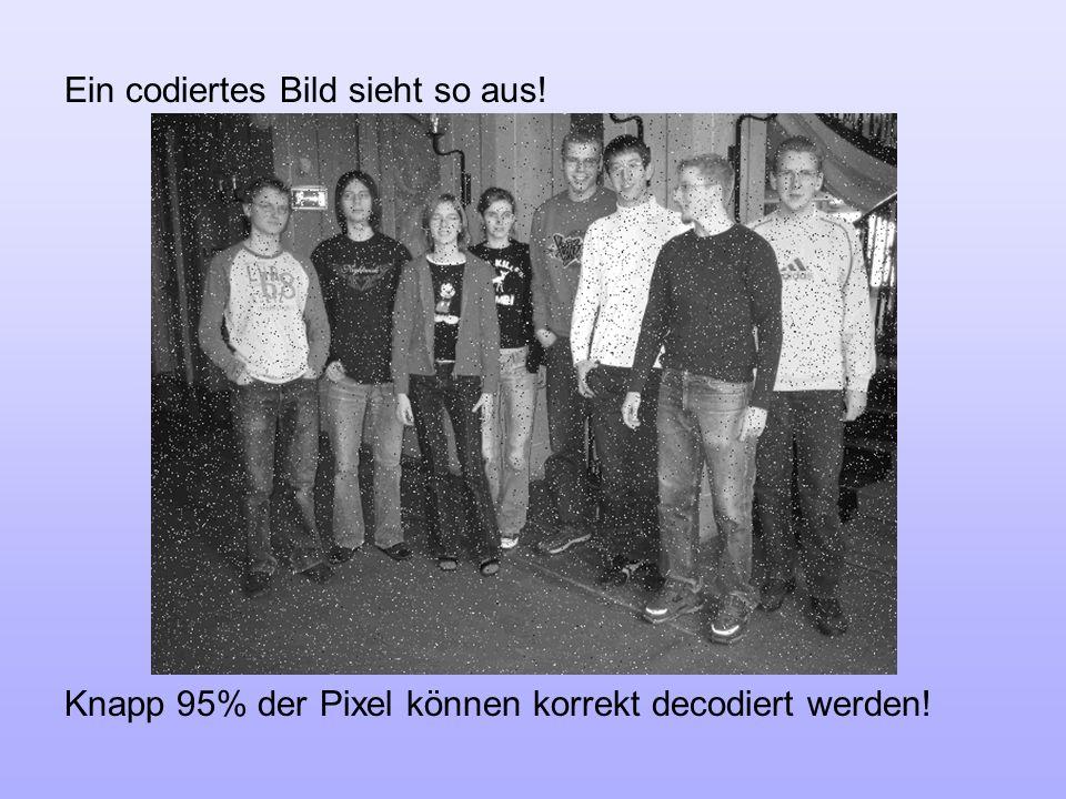 Ein codiertes Bild sieht so aus! Knapp 95% der Pixel können korrekt decodiert werden!