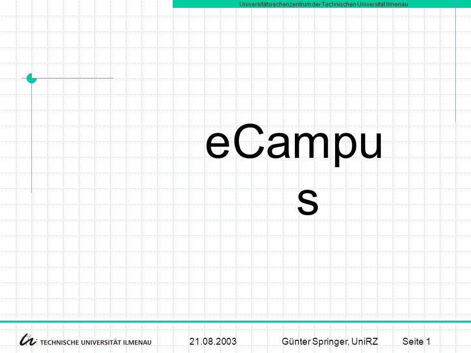 Universitätsrechenzentrum der Technischen Universität Ilmenau 21.08.2003Günter Springer, UniRZSeite 1 Campu s e