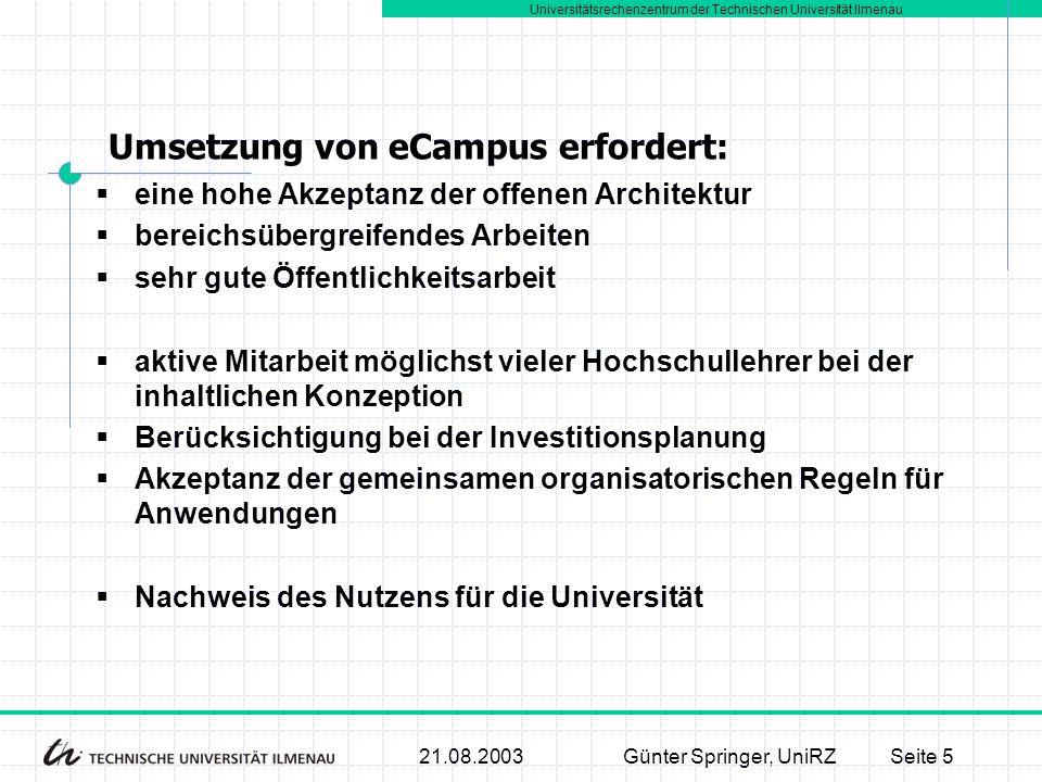 Universitätsrechenzentrum der Technischen Universität Ilmenau 21.08.2003Günter Springer, UniRZSeite 5  eine hohe Akzeptanz der offenen Architektur 