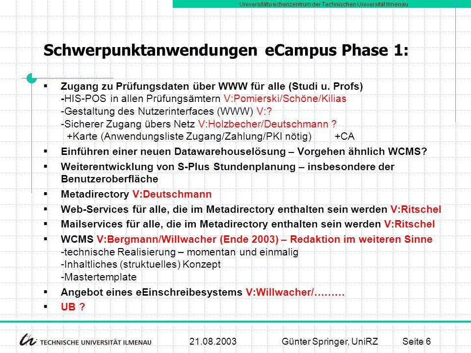Universitätsrechenzentrum der Technischen Universität Ilmenau 21.08.2003Günter Springer, UniRZSeite 7  Gesamtinvestitionskonzept zur Umsetzung der IT-MT basierenden Dienste  Entwicklungskonzept für den Ausbau der Netze  Sicherheitskonzept Konzepte, die in Phase 1 entstehen müssen:
