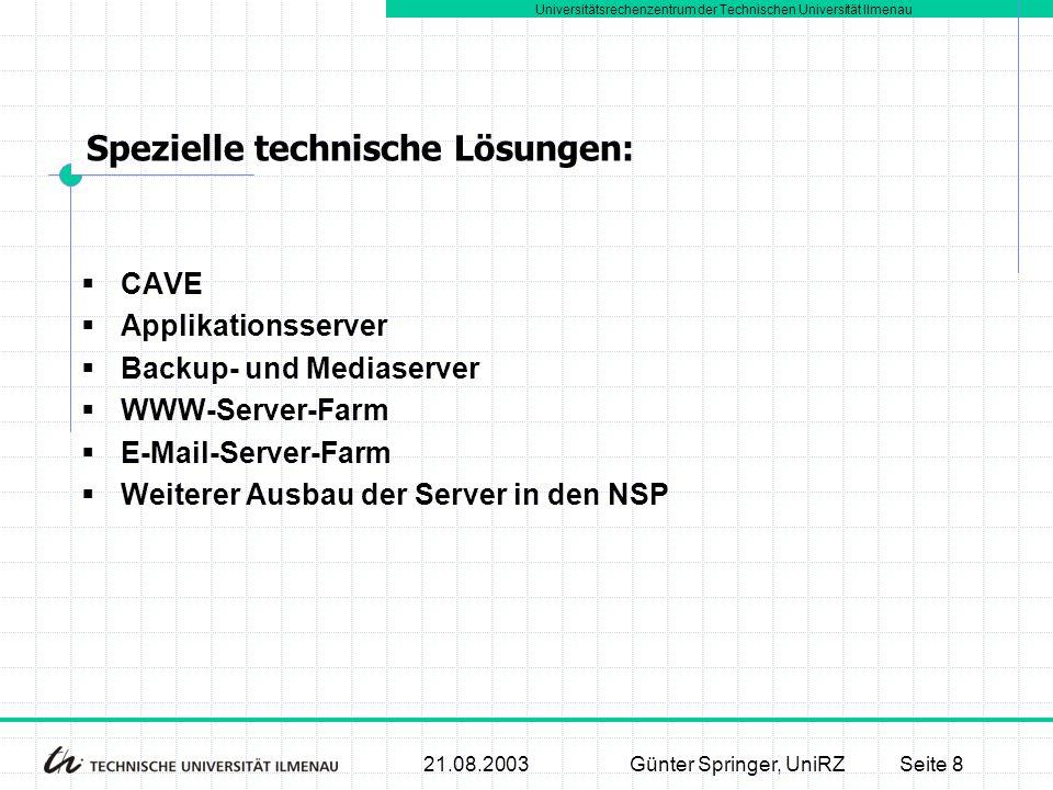 Universitätsrechenzentrum der Technischen Universität Ilmenau 21.08.2003Günter Springer, UniRZSeite 8  CAVE  Applikationsserver  Backup- und Medias