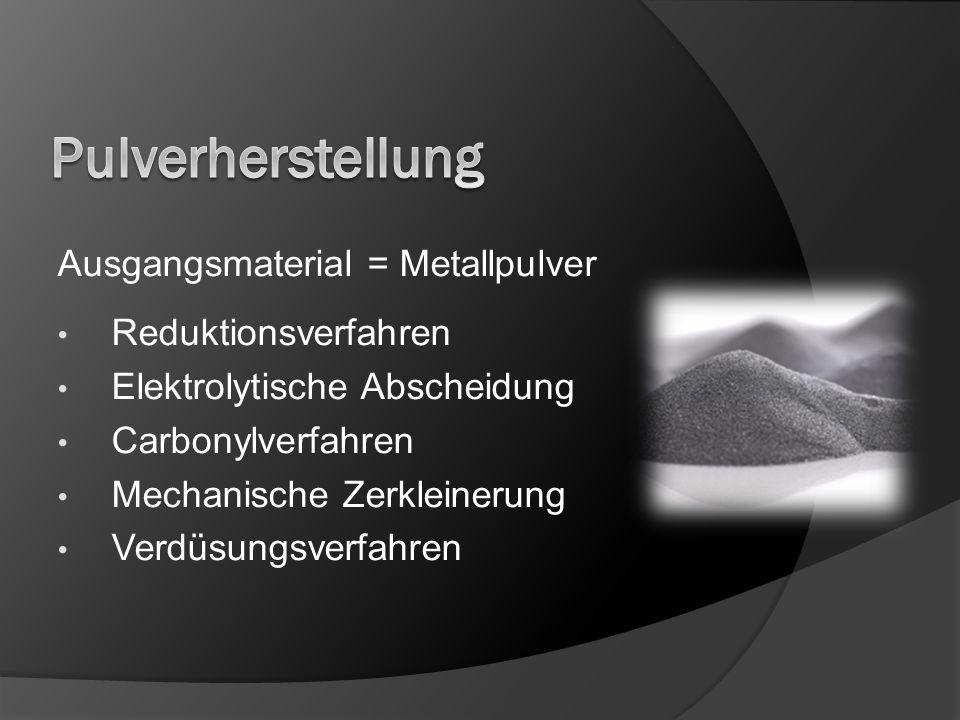Ausgangsmaterial = Metallpulver Reduktionsverfahren Elektrolytische Abscheidung Carbonylverfahren Mechanische Zerkleinerung Verdüsungsverfahren