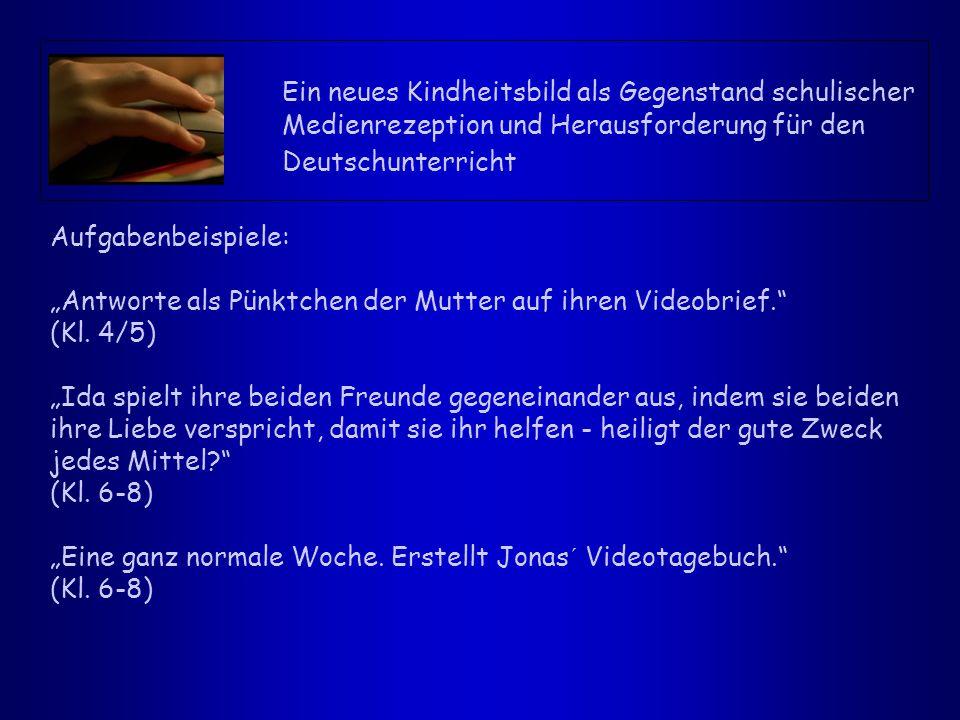 """Ein neues Kindheitsbild als Gegenstand schulischer Medienrezeption und Herausforderung für den Deutschunterricht Aufgabenbeispiele: """"Antworte als Pünktchen der Mutter auf ihren Videobrief. (Kl."""
