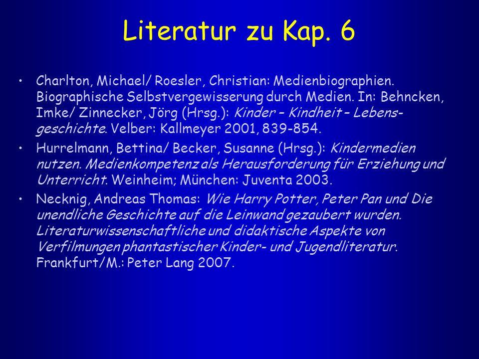 Literatur zu Kap. 6 Charlton, Michael/ Roesler, Christian: Medienbiographien. Biographische Selbstvergewisserung durch Medien. In: Behncken, Imke/ Zin