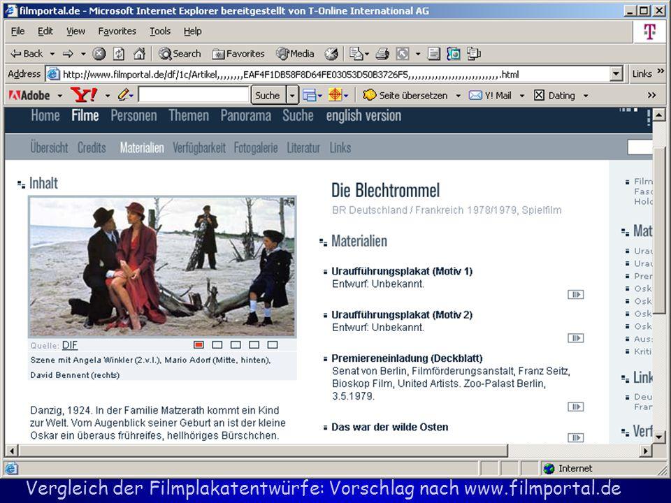 Vergleich der Filmplakatentwürfe: Vorschlag nach www.filmportal.de