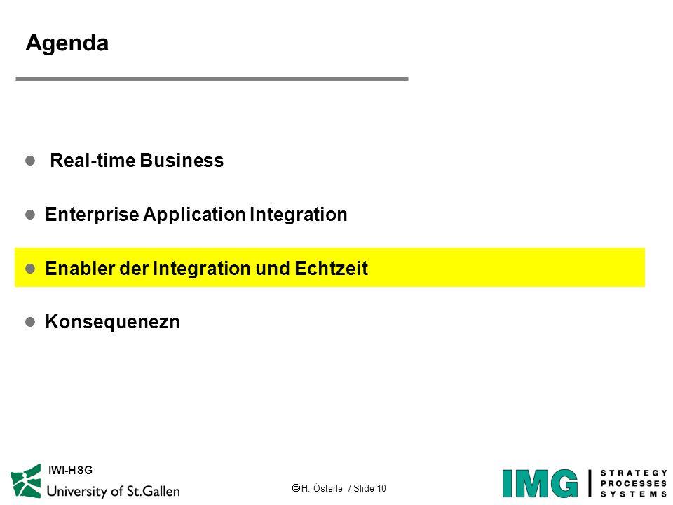  H. Österle / Slide 10 IWI-HSG Agenda l Real-time Business l Enterprise Application Integration l Enabler der Integration und Echtzeit l Konsequenezn