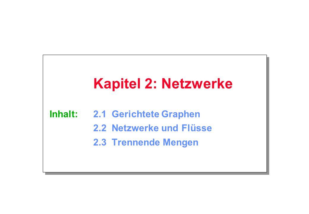 Kapitel 2: Netzwerke © Zschiegner Mai 2002 Seite 2 2.1 Gerichtete Graphen Ein gerichteter Graph besteht aus einer Menge von Ecken und einer Menge von gerichteten Kanten.