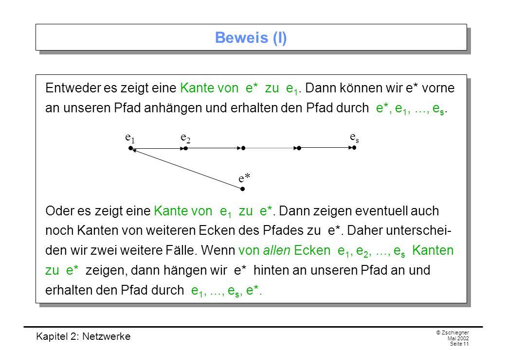 Kapitel 2: Netzwerke © Zschiegner Mai 2002 Seite 12 Beweis (II) Wenn nicht von allen Ecken e 1, e 2,..., e s Kanten zu e* zeigen, dann gibt es einen Index r (mit 1 < r < s), so dass von allen Ecken e 1,..., e r Kanten zu e* zeigen, von e r+1 jedoch nicht.