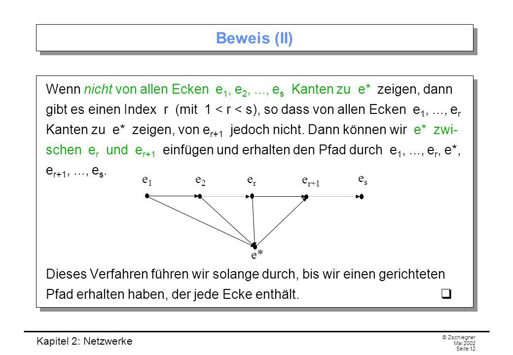 Kapitel 2: Netzwerke © Zschiegner Mai 2002 Seite 13 Beispiel Beispiel: In folgendem Turnier mit fünf Ecken können wir folgenden gerichteten Pfad durch alle Ecken finden: 1  4  2  5  3.