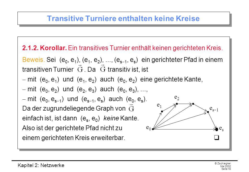 """Kapitel 2: Netzwerke © Zschiegner Mai 2002 Seite 17 Transitive Turniere kann man anordnen Bei transitiven Turnieren kann man die """"Spieler in eine eindeutige Rangfolge bringen: 10.1.3 Satz."""