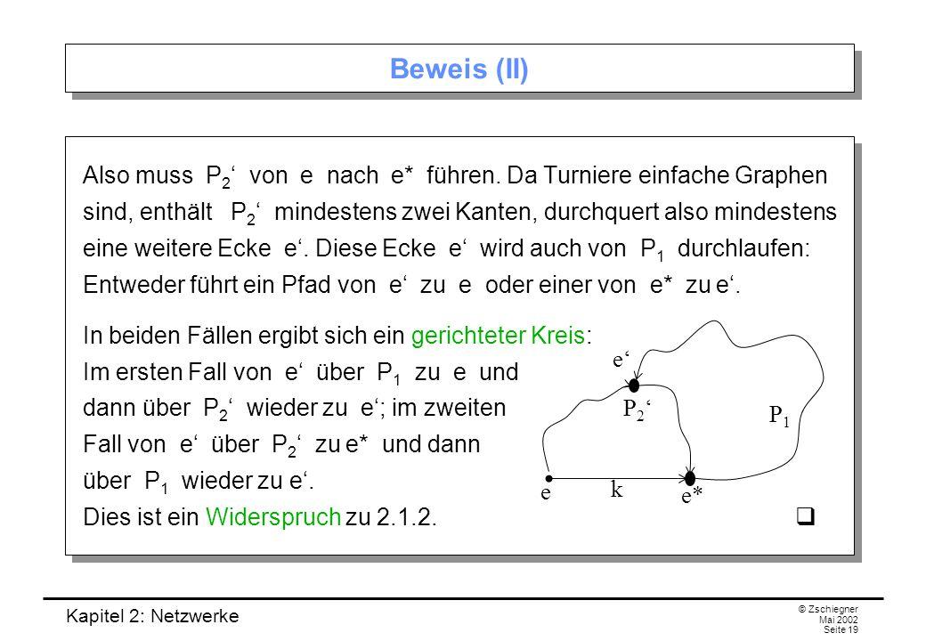 Kapitel 2: Netzwerke © Zschiegner Mai 2002 Seite 20 2.2 Netzwerke und Flüsse In vielen praktischen Anwendungen ist es hilfreich, die Kanten eines gerichteten Graphen mit Zahlen zu bezeichnen.