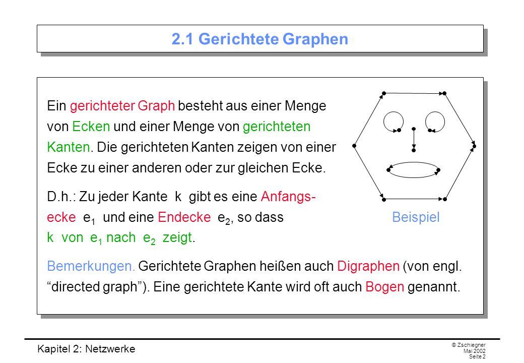 Kapitel 2: Netzwerke © Zschiegner Mai 2002 Seite 3 Quelle und Senke Meistens werden wir die Eckenmenge mit E und die Kantenmenge mit K bezeichnen.