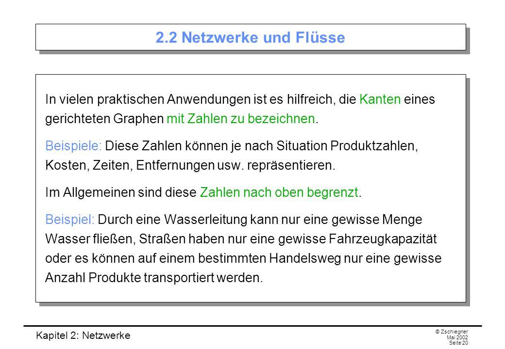Kapitel 2: Netzwerke © Zschiegner Mai 2002 Seite 21 Netzwerke Mathematisch können wir derartige Anwendungen durch ein Netzwerk modellieren.