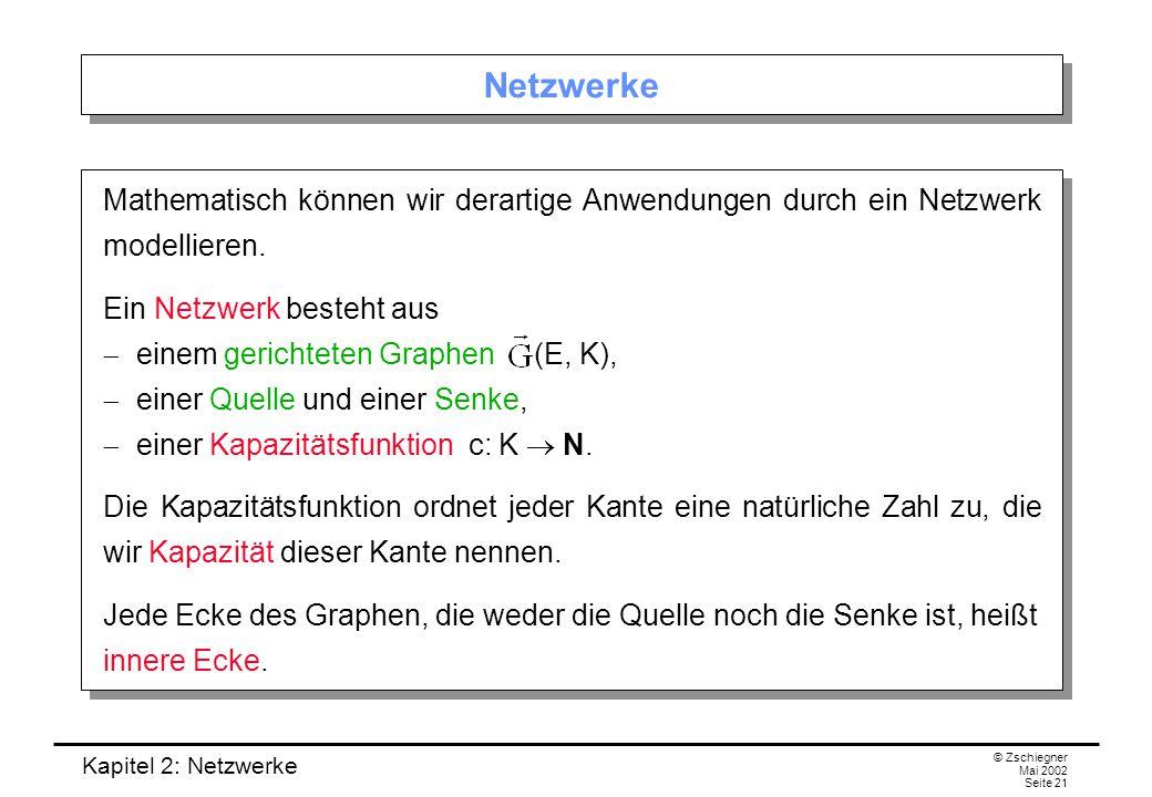 Kapitel 2: Netzwerke © Zschiegner Mai 2002 Seite 22 Ein Beispiel-Netzwerk Beispiel: Im folgenden Netzwerk ist die Ecke q die Quelle und s die Senke.