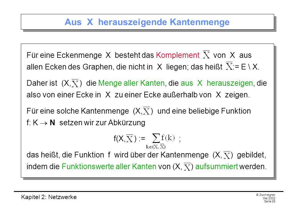 Kapitel 2: Netzwerke © Zschiegner Mai 2002 Seite 26 Ausfluss und Einfluss Außerdem schreiben wir f + (X) := f(X, ), f  (X) := f(, X), Dabei können wir uns unter f + (X) und f  (X) die Summe der Werte von f, die aus X herausfließen bzw.