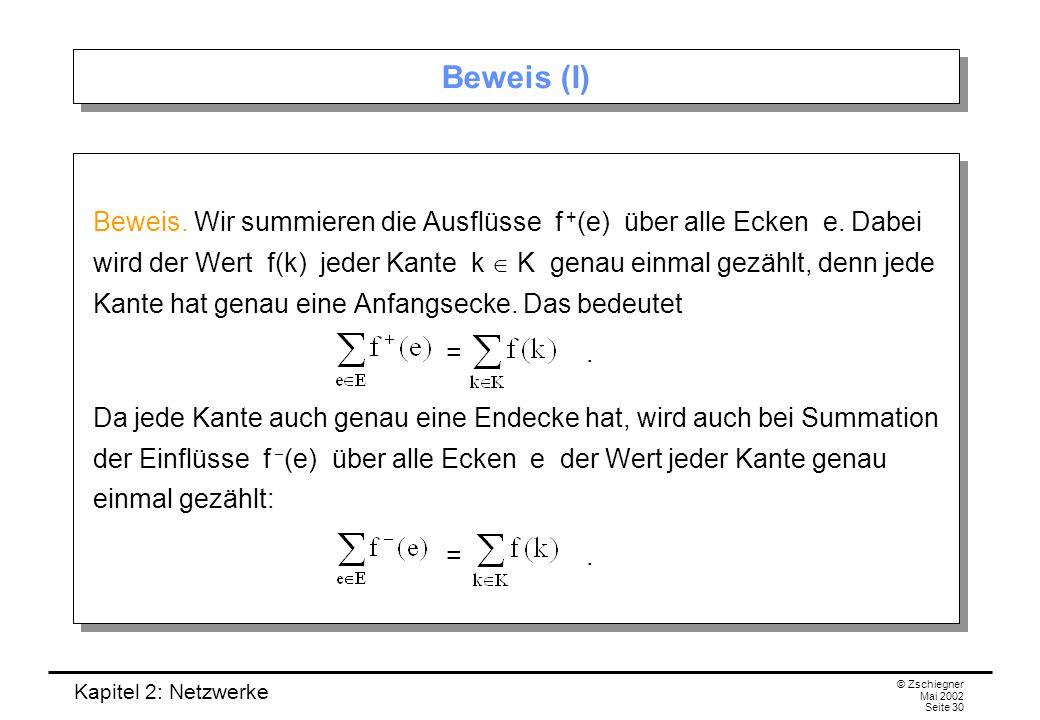 Kapitel 2: Netzwerke © Zschiegner Mai 2002 Seite 31 Beweis (II) Insgesamt folgt, dass die Summe der Ausflüsse gleich der Summe der Einflüsse ist.