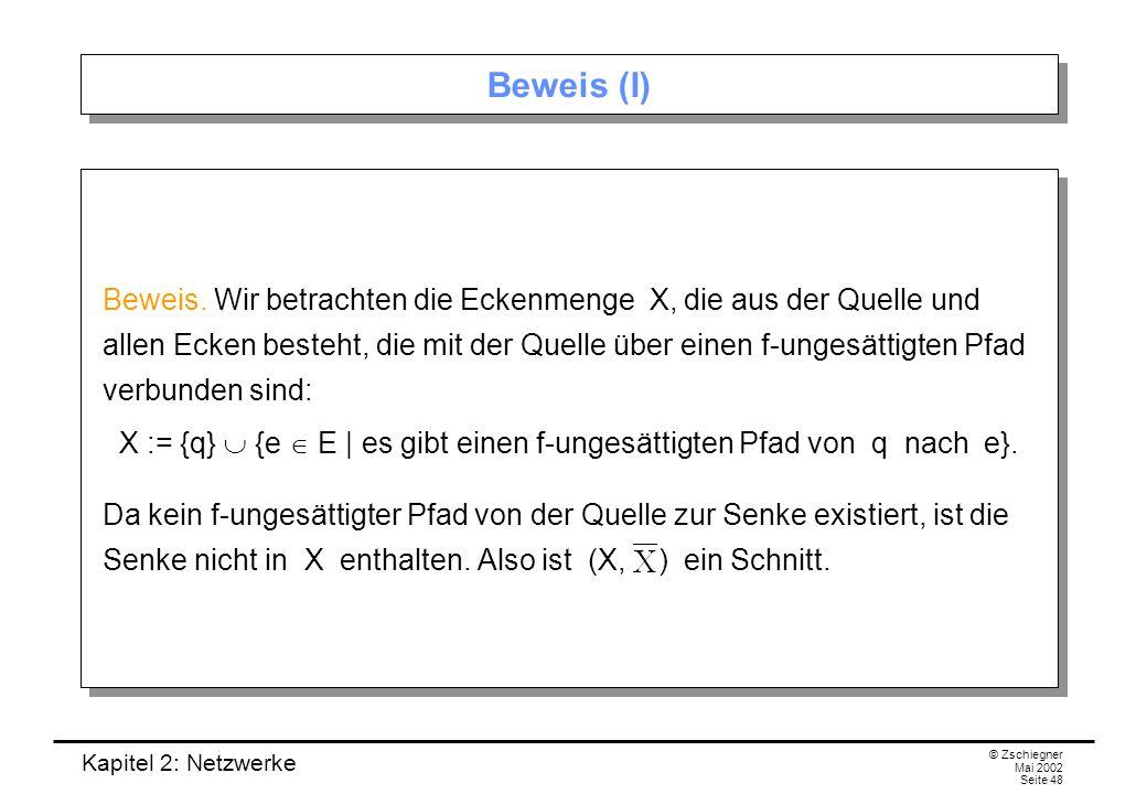Kapitel 2: Netzwerke © Zschiegner Mai 2002 Seite 49 Beweis (II) (a) Sei k = (e 1, e 2 ) eine Kante aus (X, ).