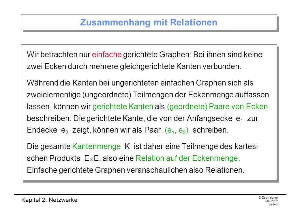 Kapitel 2: Netzwerke © Zschiegner Mai 2002 Seite 6 Gerichtete Kantenzüge & Co.