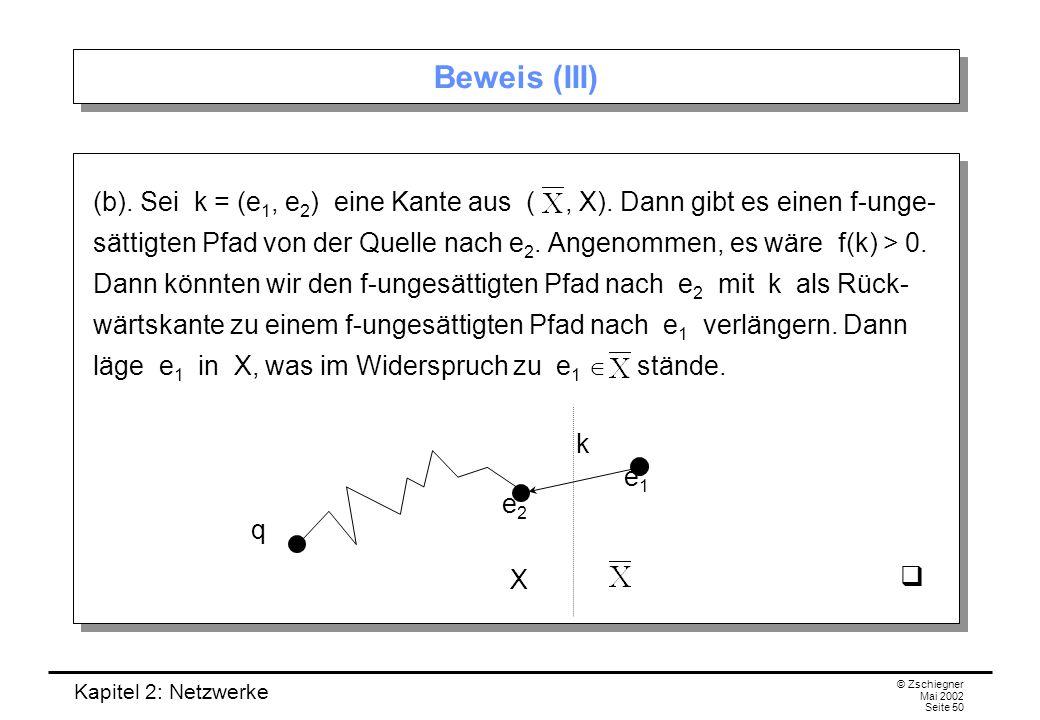 Kapitel 2: Netzwerke © Zschiegner Mai 2002 Seite 51..., dann ist der Fluss maximal.