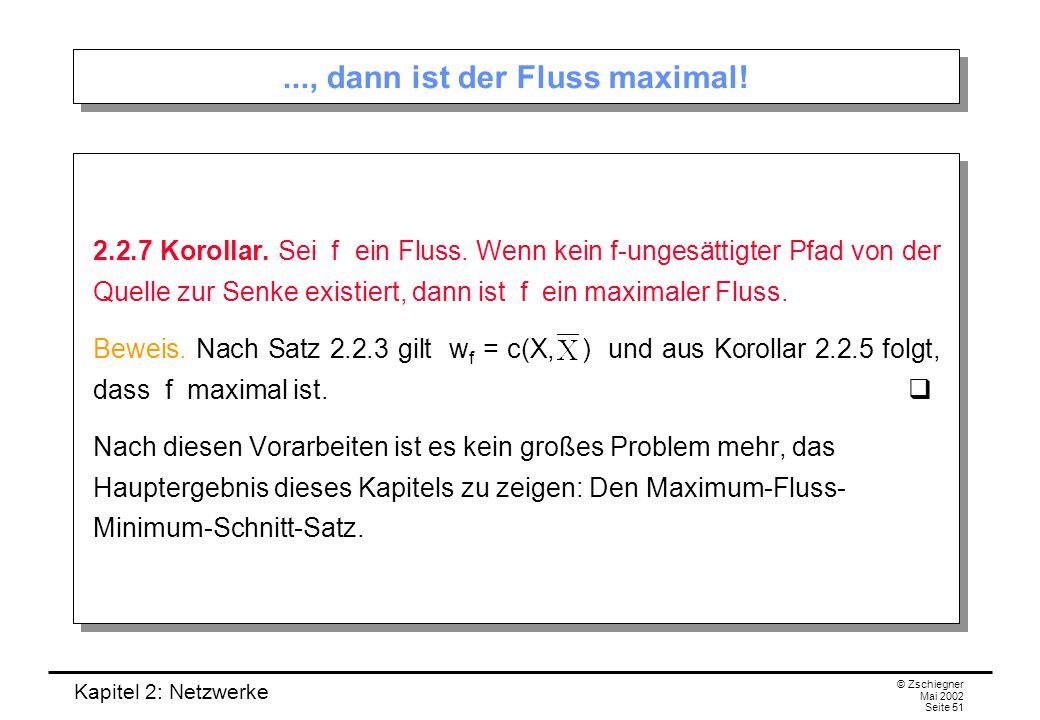 Kapitel 2: Netzwerke © Zschiegner Mai 2002 Seite 52 Maximum-Fluss-Minimum-Schnitt-Satz 2.2.8 Maximum-Fluss-Minimum-Schnitt-Satz (Ford und Fulkerson, 1956).