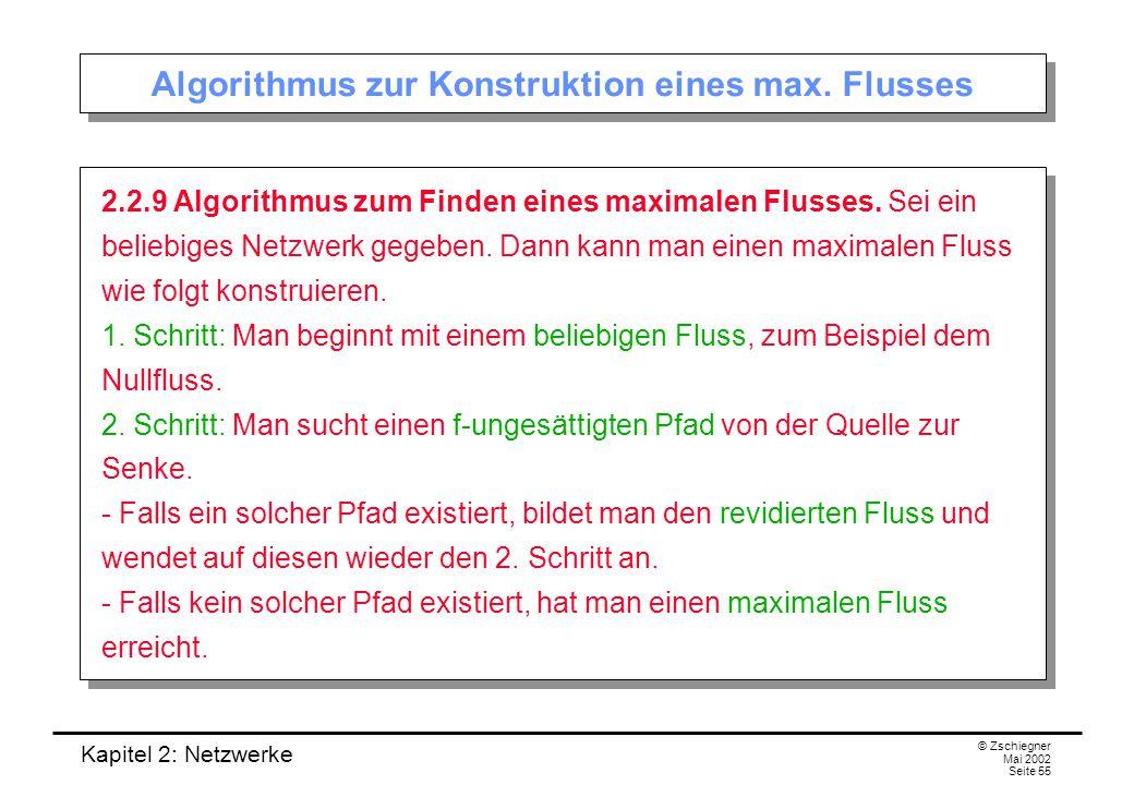 Kapitel 2: Netzwerke © Zschiegner Mai 2002 Seite 56 Suche nach einem f-ungesättigten Pfad Bemerkung.