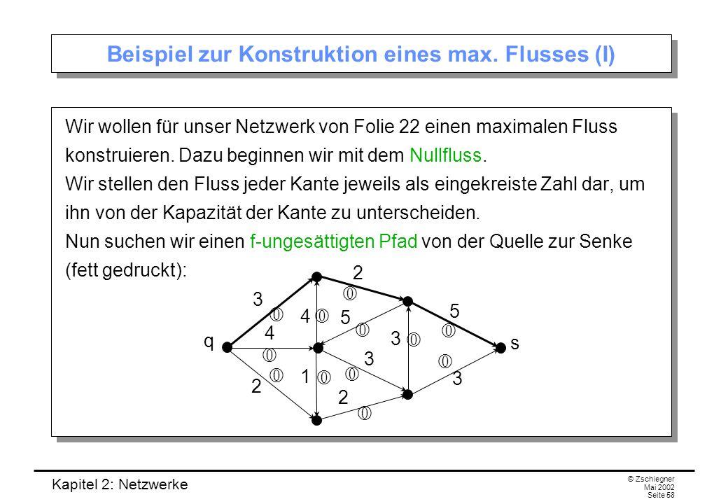 Kapitel 2: Netzwerke © Zschiegner Mai 2002 Seite 59 Beispiel (II) Das Inkrement dieses Pfades ist gleich 2.