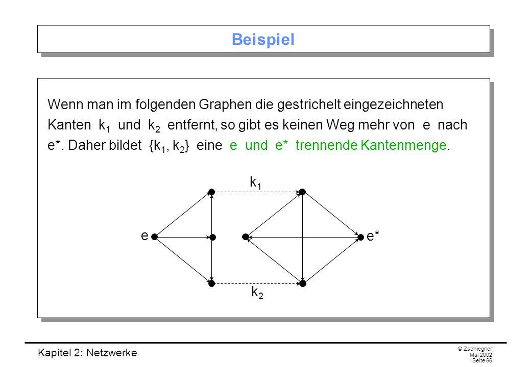 Kapitel 2: Netzwerke © Zschiegner Mai 2002 Seite 67 Minimale trennende Kantenmenge Klar: Zu zwei Ecken e und e* kann man immer eine trennende Kantenmenge finden: Die Menge aller Kanten des Graphen trennt in jedem Fall e und e*.