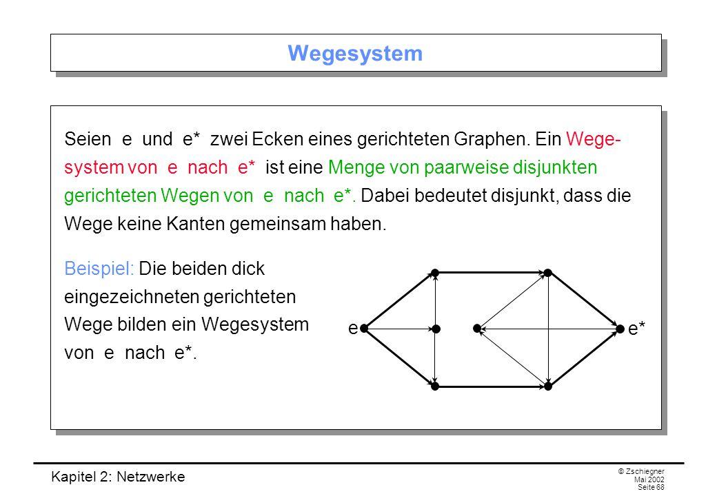 Kapitel 2: Netzwerke © Zschiegner Mai 2002 Seite 69 Maximales Wegesystem Durch wie viele disjunkte Wege sind zwei Ecken eines Graphen höchstens verbunden.