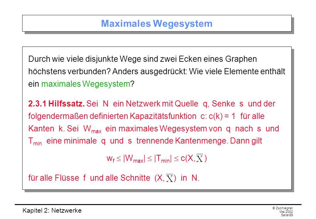 Kapitel 2: Netzwerke © Zschiegner Mai 2002 Seite 70 Beweis (I) Wir zeigen zunächst, dass w f  |W max | ist.
