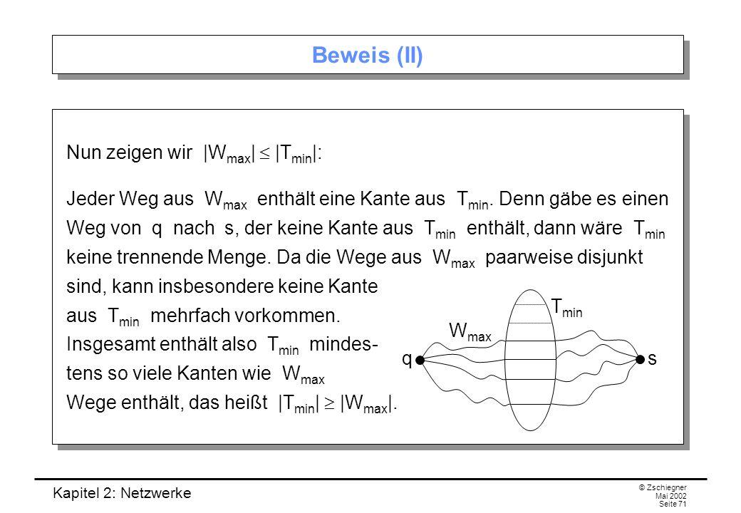 Kapitel 2: Netzwerke © Zschiegner Mai 2002 Seite 72 Beweis (III) Es bleibt noch zu zeigen, dass |T min |  c(X, ) ist.