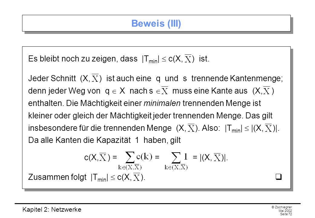Kapitel 2: Netzwerke © Zschiegner Mai 2002 Seite 73 Satz von Menger Wir werden nun sogar zeigen, dass in jedem gerichteten Graphen minimale trennende Mengen und maximale Wegesysteme gleich- mächtig sind.