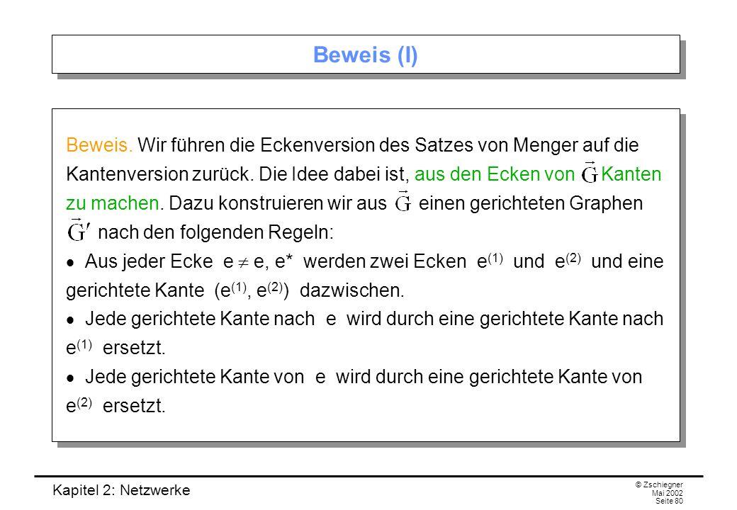 Kapitel 2: Netzwerke © Zschiegner Mai 2002 Seite 81 Beweis (II) Dies sieht beispielsweise so aus: Dann entspricht jeder gerichtete Weg von e nach e* in genau einem gerichteten Weg von e nach e* in.