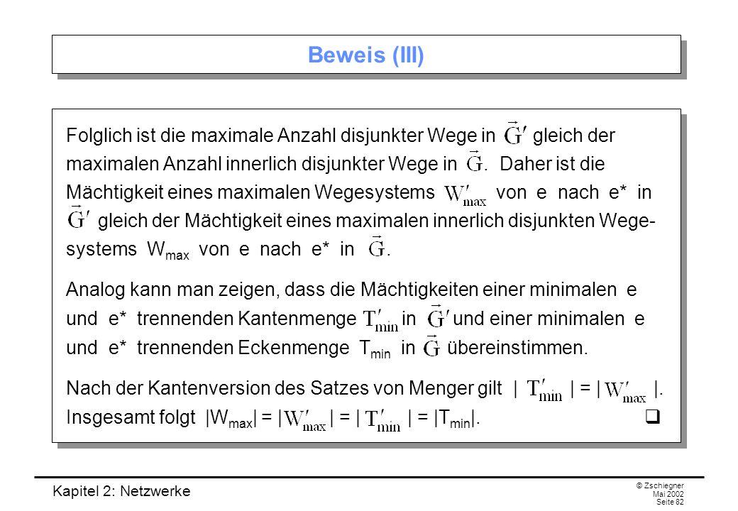 Kapitel 2: Netzwerke © Zschiegner Mai 2002 Seite 83 Eckenzusammenhangszahl Die Eckenversion des Satzes von Menger gilt auch für ungerichtete Graphen.