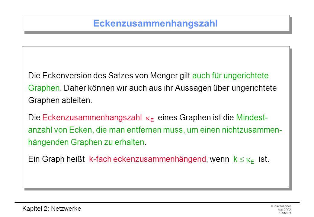 Kapitel 2: Netzwerke © Zschiegner Mai 2002 Seite 84 Korollar 2.3.5 Korollar.