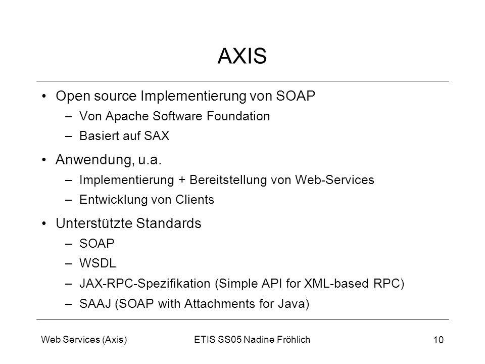 ETIS SS05 Nadine FröhlichWeb Services (Axis) 10 AXIS Open source Implementierung von SOAP –Von Apache Software Foundation –Basiert auf SAX Anwendung,